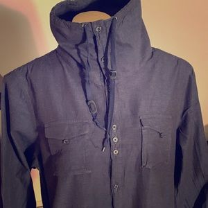 Mens INC Linen Button Down With High Neck Collar
